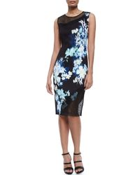 Elie Tahari - Black Emory Floral-print Sheath Dress W/ Mesh - Lyst
