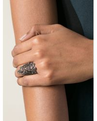 Gaydamak - Metallic Flower Embellished Ring - Lyst