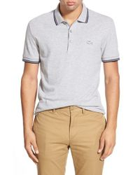 Lacoste - Gray Stripe Tipped Pique Polo for Men - Lyst