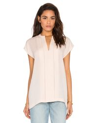VINCE | Pink Short Sleeve Pintuck Popover Blouse | Lyst