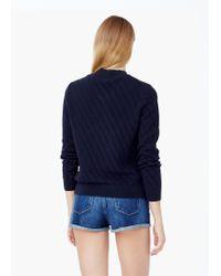 Mango - Blue Textured Cotton Cardigan - Lyst