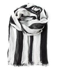American Vintage | Black Striped Fringed Scarf | Lyst