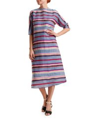 Nikki Chasin | Blue A-line Striped Dress | Lyst
