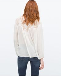 Zara | White Guipure Lace Combined Shirt | Lyst