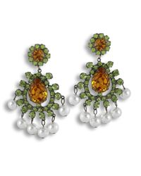 Kenneth Jay Lane | Multicolor Peridot And Topaz Clip Earring | Lyst