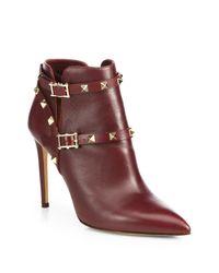 Valentino - Purple Rockstud Leather Ankle Boots - Lyst