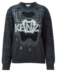 KENZO - Gray 'tiger' Sweater - Lyst