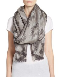 Saks Fifth Avenue | Gray Geo Blanket Scarf | Lyst