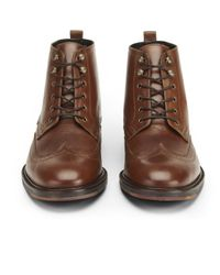 H by Hudson - Brown Men's Harland Leather Brogue Boots for Men - Lyst