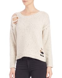 Wildfox - White Dinner Party Distressed Crewneck Sweater - Lyst