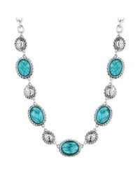 Jones New York | Blue Silvertone Turquoise Stone Collar Necklace | Lyst