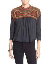 Free People | Black 'snow Bunny' Embroidered Swing Top | Lyst