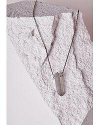 Missguided   Metallic Iridescent Pendant Longline Necklace Pewter   Lyst