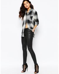 Mango - Gray Premium Frayed Edge Check Shirt - Lyst