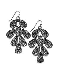 INC International Concepts - Gray Hematite-tone Pave Leaf Chandelier Earrings - Lyst