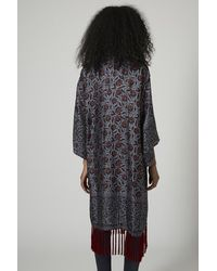 TOPSHOP - Gray Key To Freedom Silk Duster Kimono - Lyst