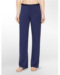Calvin Klein - Blue Underwear Essentials Satin Trim Lounge Pants - Lyst