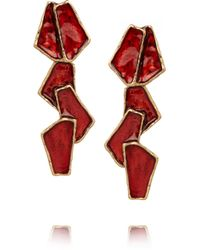 Oscar de la Renta - Pink Goldplated Resin Earrings - Lyst