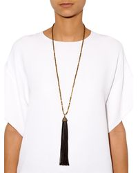 Zeus + Dione | Black Hematite Leather Tassel Necklace | Lyst