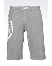 EA7   Gray Cotton Shorts for Men   Lyst