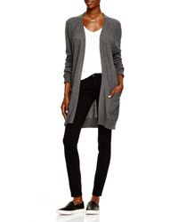 Aqua | Gray Cashmere Cashmere Moto Open Cardigan With Pockets | Lyst