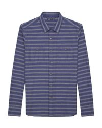 Onassis Clothing | Blue Flannel Heather Stripe Shirt for Men | Lyst