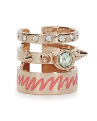 MFP MariaFrancescaPepe - Purple 23Kt Rose Gold Plated Triple Band Ring - Lyst