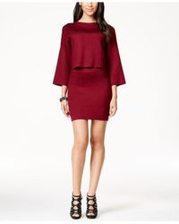 BCBGeneration - Purple Bell-sleeve Cropped Sweater - Lyst