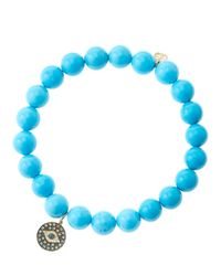 Sydney Evan | Blue 8Mm Turquoise Beaded Bracelet With 14K Gold/Rhodium Diamond Small Evil Eye Charm (Made To Order) | Lyst