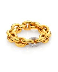 Eddie Borgo | Metallic Single Pavé Link Bracelet/goldtone | Lyst