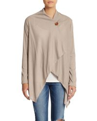 Bobeau | Brown Rib-knit Draped Cardigan | Lyst