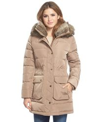 MICHAEL Michael Kors Brown Quilted Parka With Faux Fur Trim