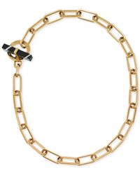 Michael Kors | Metallic Gold-tone Chain Link Stone Toggle Necklace | Lyst