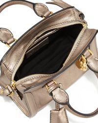 Alexander McQueen - Natural Mini Padlock Metallic Tote - Lyst