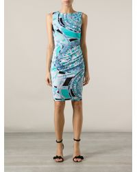 Emilio Pucci - Blue Baroque Geometric Printed Dress - Lyst