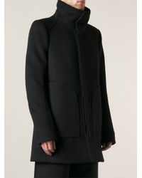 Thamanyah - Black Funnel Neck Disc Coat for Men - Lyst