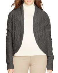 Lauren by Ralph Lauren | Gray Plus Cable-knit Cardigan | Lyst