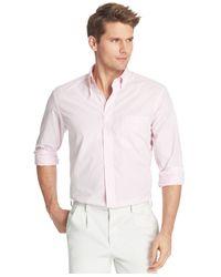 Izod - Pink Gingham Long Sleeve Shirt for Men - Lyst
