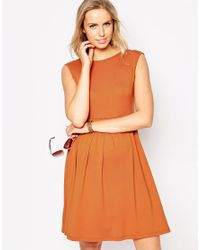 ASOS | Brown Skater Dress With Bow Back | Lyst
