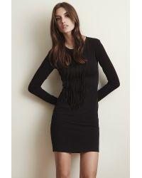 Velvet By Graham & Spencer - Black Violet Stretch Jersey Fringe Dress - Lyst