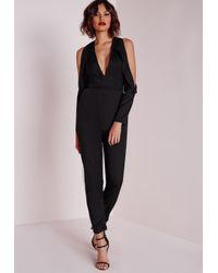 Missguided - Tux Cut Out Shoulder Jumpsuit Black - Lyst