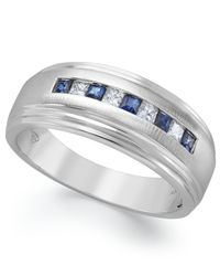 Macy's | Men's 10k White Gold Ring, Diamond (1/5 Ct. T.w.) And Sapphire (3/8 Ct. T.w.) Ring for Men | Lyst