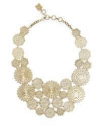 BCBGMAXAZRIA | Metallic Filigree Disc Statement Necklace | Lyst