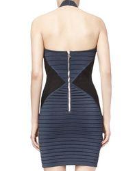 Balmain - Blue Halter Neck Keyhole Dress - Lyst