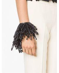 Monies - Black Fringed Bracelet - Lyst
