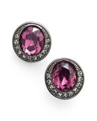 Givenchy - Purple Button Earrings - Hematite/ Amethyst Mix - Lyst