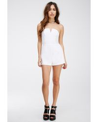 Forever 21 - White Notched Strapless Romper - Lyst