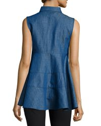 Co. - Blue Sleeveless Spread-llar Denim Top - Lyst
