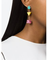 Eshvi | Blue 'back To School' Pendant Earrings | Lyst