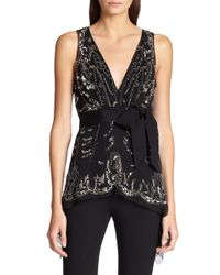 Donna Karan - Black Embroidered Silk Blouse - Lyst